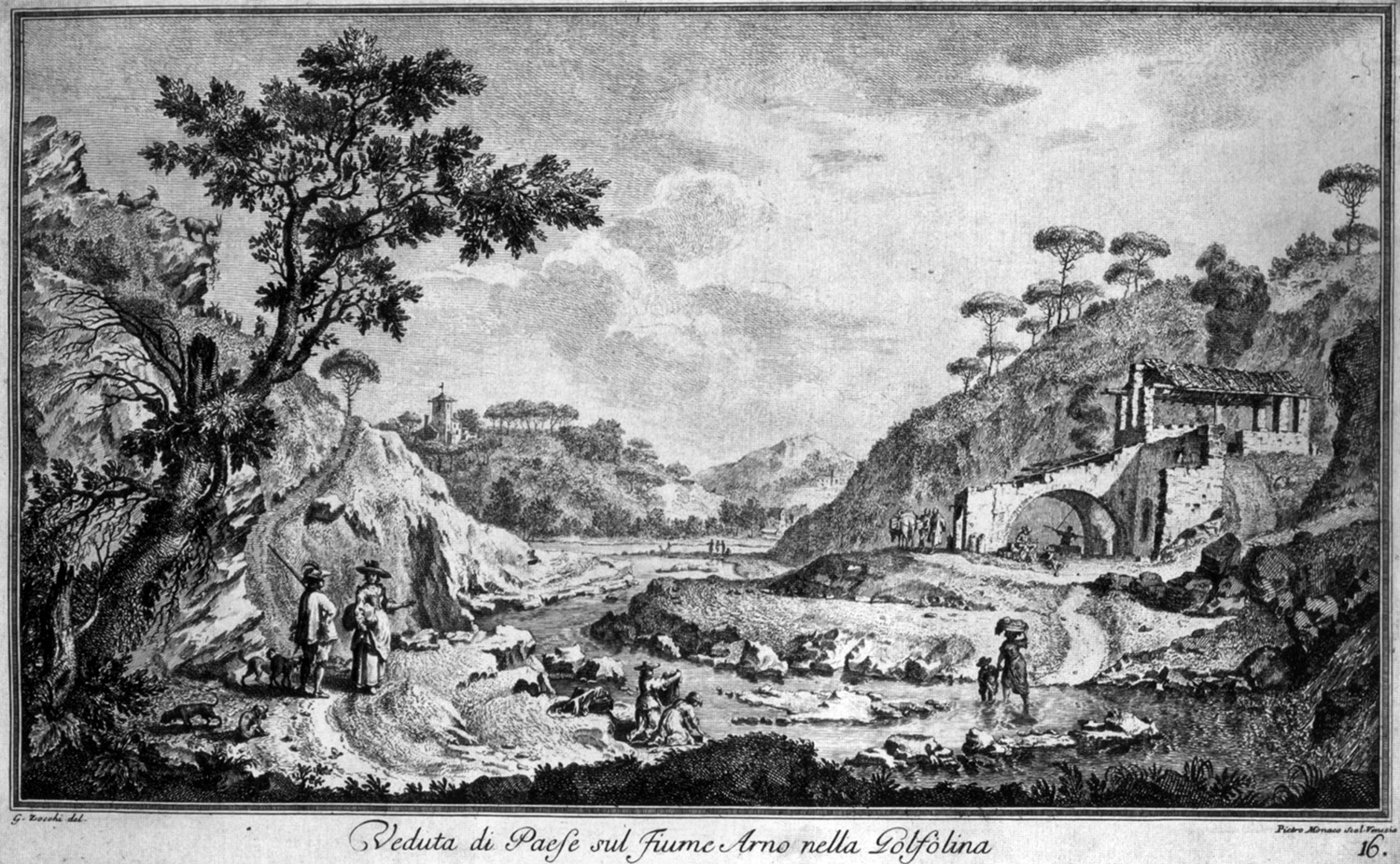 The Gonfolina canyon, engraving by Zocchi